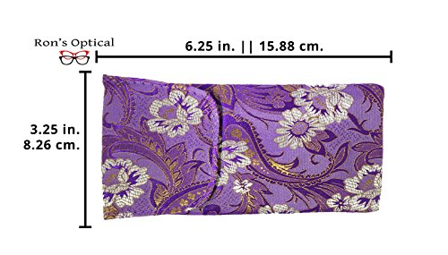 3 Pack Floral Eyeglass Case Top Closure, Slip In Eyeglass Case Soft Fits Medium To Large Glasses, Women by Ron's Optical (Image #1)