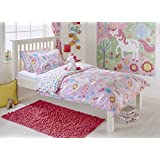 Unicorn Girls Double Quilt Duvet Cover and 2 Pillowcase Bedding Bed Set Flowers Rainbows - Pink by Unicorn