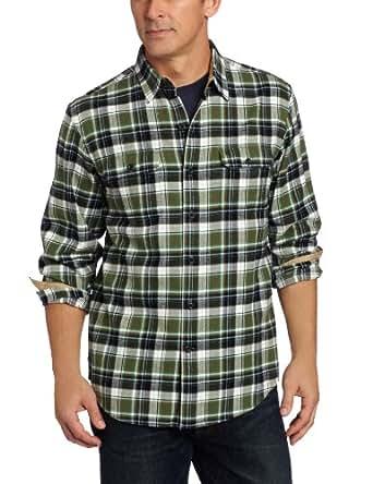 IZOD Men's Plaid Twill Shirt, Olive Dance, XX-Large