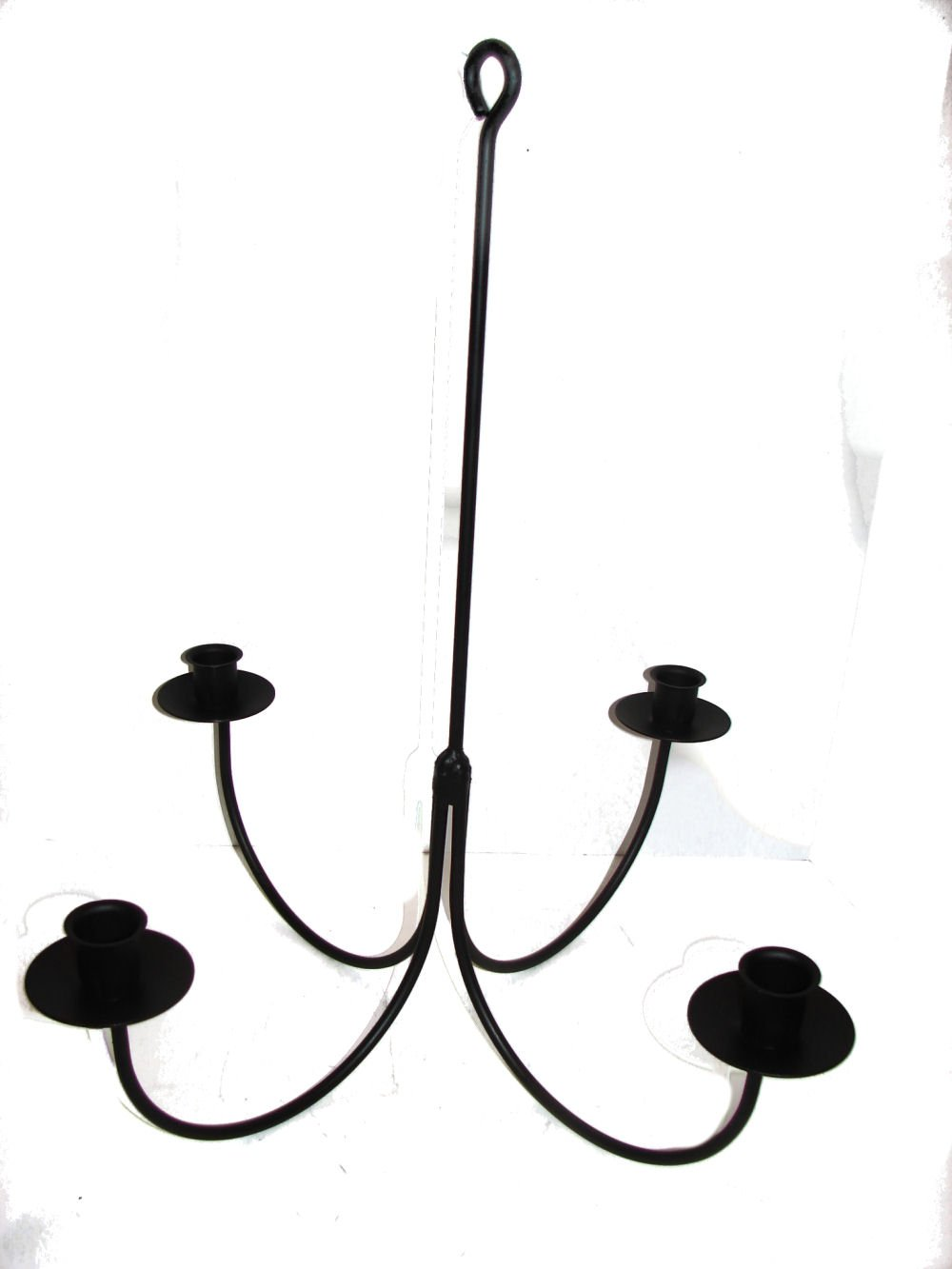 Wrought Iron 4 Arm Candle Chandelier by Hand Crafted & American Made!