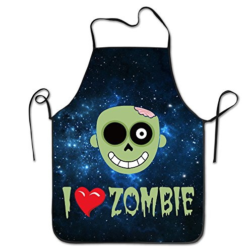 Unisex I Love Zombie Ice Melt Kitchen Cooking Grilling Apron Neck Straps Without Pockets Adjustable