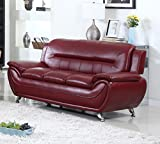 U.S. Livings Anya Modern Living Room Polyurethane Leather Sofa and Loveseat Set (2-Piece, Burgundy)