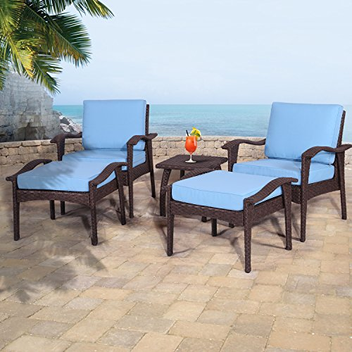 Diensday Outdoor Furniture | Patio Conversation Sets 5-Piece Lounge Chair & Ottoman set | All Weather Brown Wicker Deep Seating with Blue Waterproof Olefin Cushions & Coffee Side Table