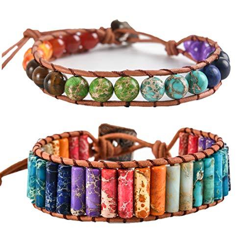(YGLINE Handmade Bohemian Boho Woven Leather Imperial Jasper Wrap 7 Chakra Bead Yoga Bracelet w/Sunflower Button Adjustable for Women Girls Friendship(2pcs Chakra Beads+Tube))