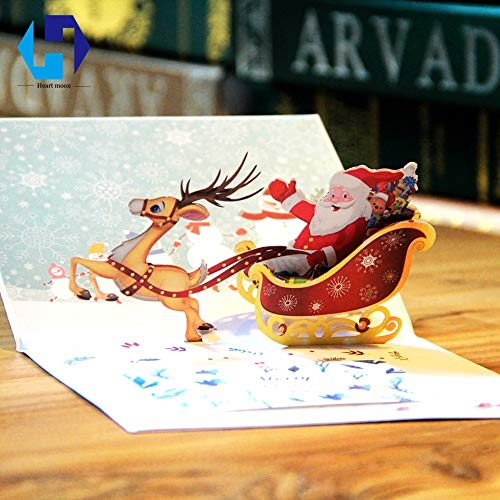 Best Quality - Cards & Invitations - Santa Claus Christmas Ride Deer pop up greeting card laser cutting envelopes postcard hollow carved handmade kirigami Gifts - by SeedWorld - 1 PCs
