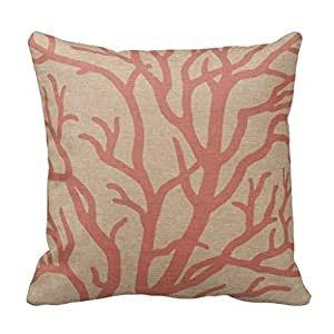 liseny Coral Reef Branches in Coral Pink Personalized 18x18 Inch Square Cotton Throw Pillow Case Decor Cushion Covers