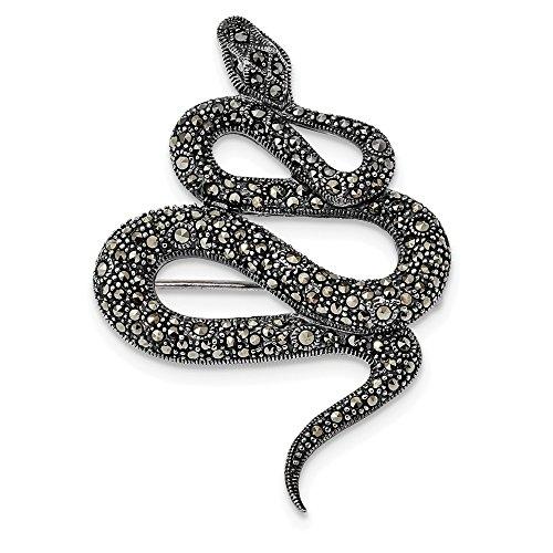 36mm Sterling Silver Antiqued Marcasite Snake - Brooch Gemstone Marcasite