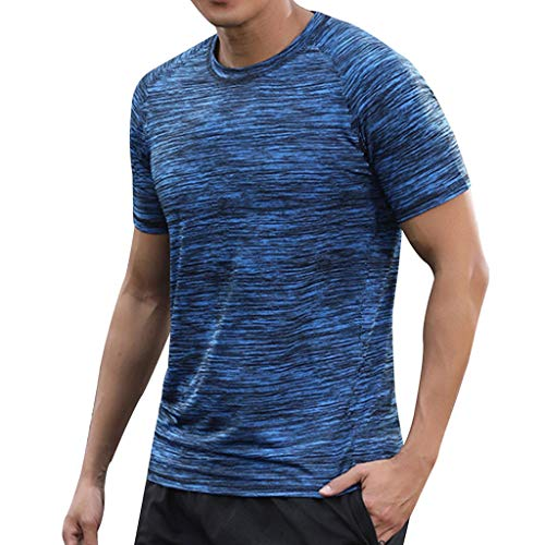 (Men's Summer Casual O-Neck T-Shirt Fitness Sport Fast-Dry Breathable Top Blouse, MmNote Blue)