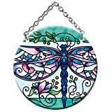 "Dragonfly Suncatcher 3.5"" Round Art Glass"