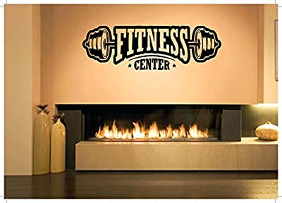 Wall Vinyl Sticker Decal Decor Crossfit Bodybuilding Fitness Empire Center Sport Gym Fit Powerlifting Barbell Dumbbell Gymnastics Poster Art Vintage Retro Quote Word SA950