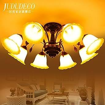KHSKX Lámpara de techo,8 salón americano Candelabro Rústico ...