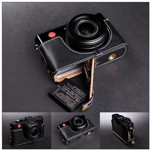 Handmade Genuine real Leather Half Camera Case bag cover for Leica D-LUX6 Black Bottom opening Version