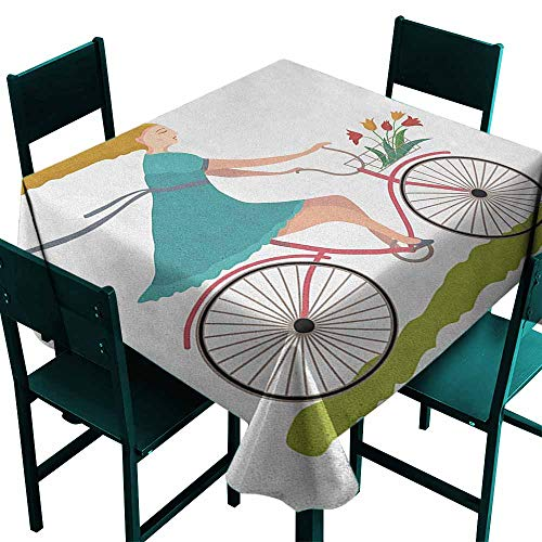 - Sunnyhome Tablecloth for Kids/Childrens Bicycle Young Woman on Bike with Basket of Tulip Flowers Riding in The Spring Countryside Resistant/Spill-Proof/Waterproof Table Cover 54x54 Inch Multicolor