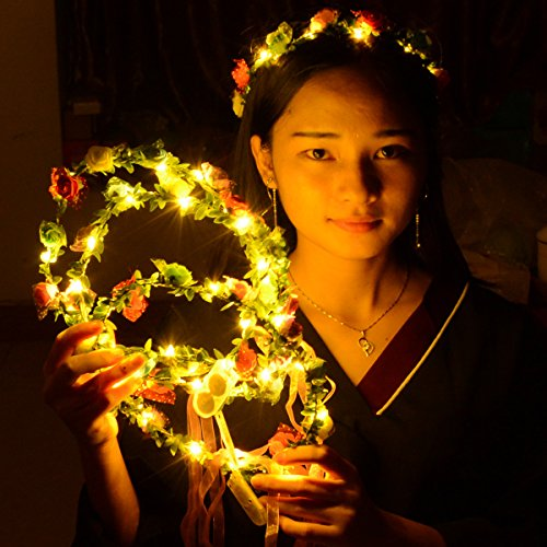 Homeleo 4-Pack LED Rose Flower Wreath Headband Light Up, LED Glowing Girl's Headdress, LED Fairy LED Wrap Crown Festival Tiara Floral Bohemia for Festival Wedding Christmas Halloween Party