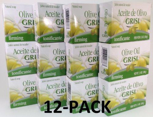 12pk - Olive Oil Soap - Jabon Aceite de Olivo - Grisi (3.5 Oz. X 12 Units)