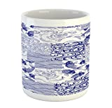 Lunarable Japanese Mug, Stylized Japanese Patchwork Arts and Craft Pattern Nature Botanic Wildlife Figures, Printed Ceramic Coffee Mug Water Tea Drinks Cup, Blue White
