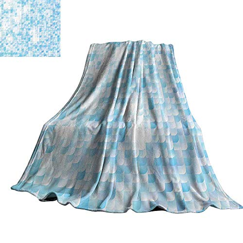 """Teal Decor Reversible Blanket Glisten Fish Scale with Gradients and Hotspots Sunlights Cheerful Art 90"""" Wx70 L Blue Purple White"""