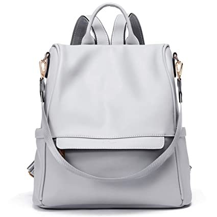 29aa5cb2b6a Women Backpack Purse Fashion PU Leather Anti-theft Large Travel Bag Ladies  Shoulder School Bags gray