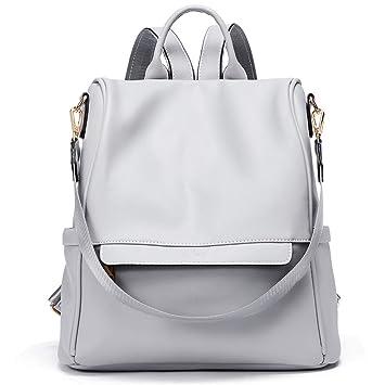 5adcad30057ae Damen Rucksack Handtaschen 3 Möglichkeiten PU Leder Frauen Reiserucksack  Schulrucksack Anti-Diebstahl Schultertasche Grau
