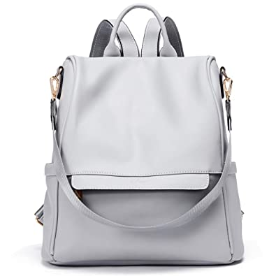 54cde0017 Amazon.com: Womens Backpacks Purse Fashion Leather Anti-theft Large Travel  Bag Ladies Shoulder Bags Gray: Shoes