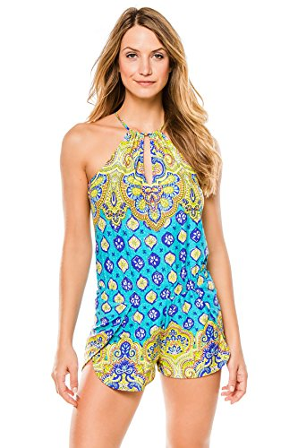 Trina Turk Women's Corsica Romper Cover up, Turquoise, XS