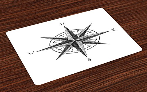 Room Compass Complete Decor - Ambesonne Compass Place Mats Set of 4, Seamanship Hand Drawn Windrose with Complete Directions North South West, Washable Fabric Placemats for Dining Room Kitchen Table Decor, Charcoal Grey White