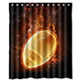 Burning Soccer Rugby American Football Cool Sport Theme - Fashion Personalize Custom Bathroom Shower Curtain Waterproof Polyester Fabric 60(w)x72(h) Rings Included