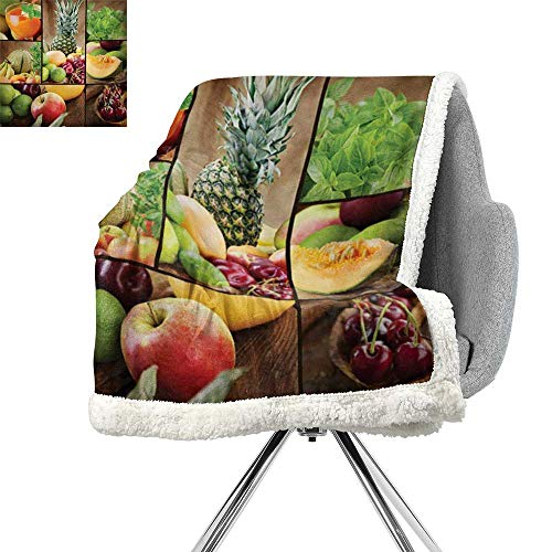 Microfiber Salad (ScottDecor Nature Lightweight Microfiber Blankets,Fruits Salad Themed Watermelon Pineapple Apple Cherries Juice Collage Art Print,Multicolor,Blanket for Sofa Couch Bed W59xL31.5 Inch)