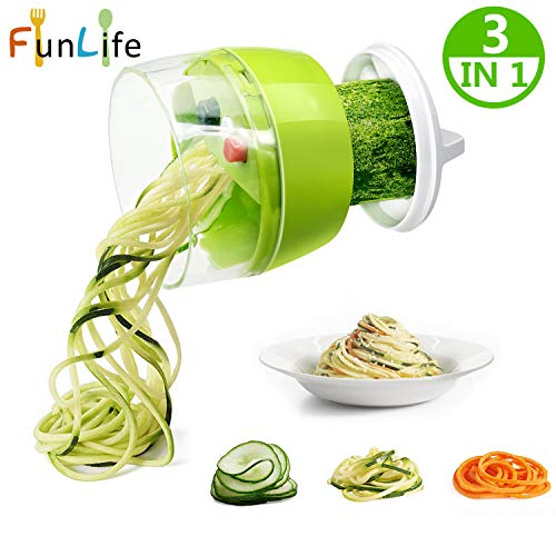 Spiralizer vegetable slicer Fun Life zoodle maker Mini Vegetable Spiral Slicer Cutter with Handheld Turning Good Grips- 3 Switchable Blades for Variable Cutting Pattern