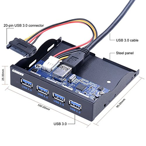 Goodes Front Panel USB 3.0 3.5 inch 4-Port USB HUB with 15 Pin SATA Power Connector for PC, Computer, USB Flash Drives by Goodes (Image #1)