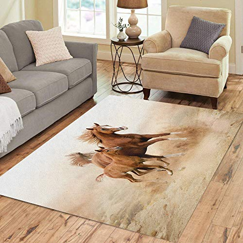(Semtomn Area Rug 5' X 7' Brown Animal Purebred White Horse in Desert Foal Home Decor Collection Floor Rugs Carpet for Living Room Bedroom Dining Room )
