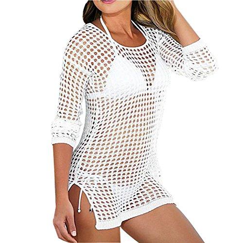 iecool Women Sexy Mesh Crochet Bikini Swimwear Cover Up Beach Dress (White)