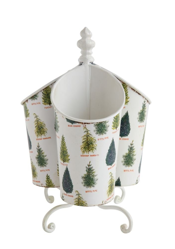 Heart of America Tin Rotating Utensil Holder With Trees Compartments - 2 Pieces