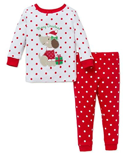 Little Me Girl's Cotton Christmas Puppy 2 pc