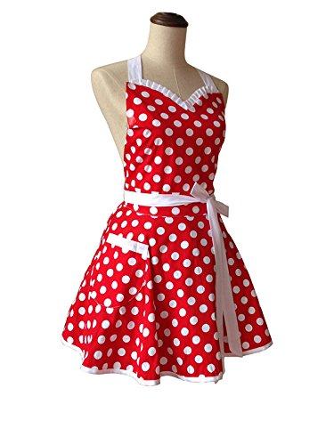 Lovely Sweetheart Red Retro Kitchen Aprons Woman Girl Cotton Polka Dot Cooking Salon Pinafore Vintage Apron Dress Christmas