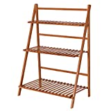New Light Brown Folding Display Rack Garden Yard Outdoor Bamboo Flower Pot 3 Tier Shelf Stand