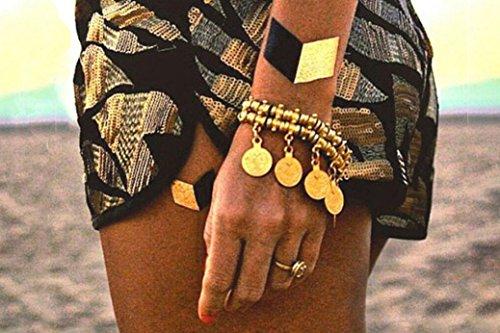 TribeTats Monaco Variety Set Luxury Metallic Tattoos (4 Pack), One Size, Gold/Silver/Rose Gold/Black