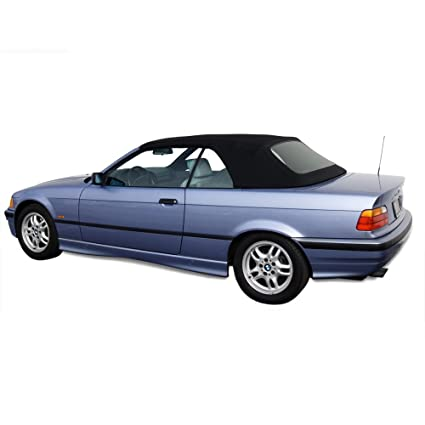 BMW 3 Series E36 Convertible Top Haartz Stayfast Cloth With Integrated Plastic Window Black