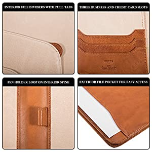 "Tony Perotti Leather Business Portfolio Document Folder Case and Padfolio Holder A4 8.5 x 11"" Letter Size Writing Pad Made with Real Italian Leather"