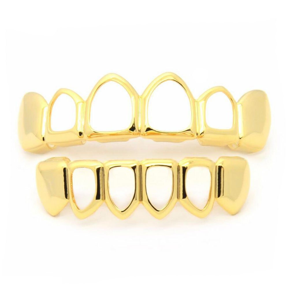 Gold Grillz Teeth New Custom Fit Gift teeth Grills Best gift for Son 14k Gold Grillz Plated Open Face Teeth Grillz Caps Top & Bottom Grill Set