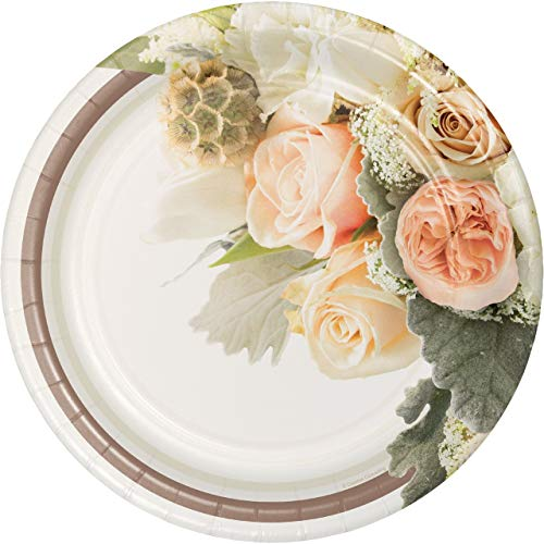 - Creative Converting 8-Count Paper Banquet Plates, Rose Gold Bouquet