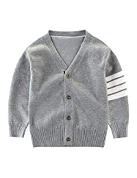 Motteecity Fashion Boys Long Sleeve Woolen V-Neck British Style Cardigan
