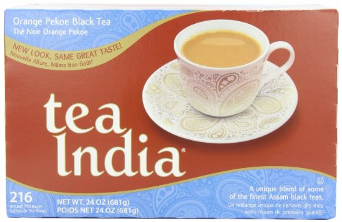 India Orange Tea (Tea India Assam Tea Blend, Orange Pekoe, 216 Round, 2-Cup Tea Bags, 24-Ounce Boxes (Pack of)