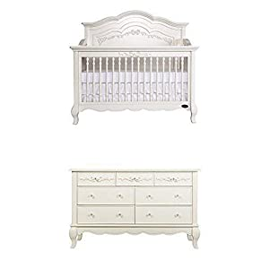 Evolur Aurora 5-in-1 Convertible Crib, Ivory Lace Drawer with Drawer Double Dresser