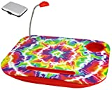 Red Tie Dye Portable Laptop Tablet Notebook Computer Lap Desk with Cup Holder Light Cushion Pillow Best Unique Gift for Girls Boys Teens Kids Adults with CARD CASE (TVColor2)