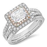 1.9 Ct Emerald Cut Pave Halo Bridal Engagement Wedding Anniversary Ring Band Set 14K White Rose Gold, Size 5, Clara Pucci