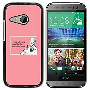 Qstar Arte & diseño plástico duro Fundas Cover Cubre Hard Case Cover para HTC ONE MINI 2 / M8 MINI ( Support Wine Drink Funny Quote Pink Man)