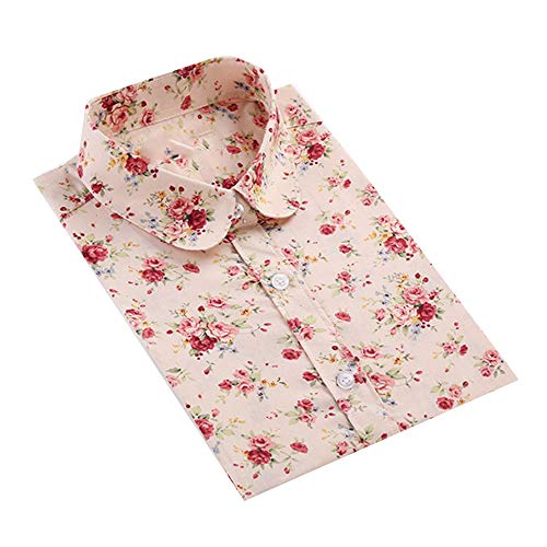 - Keetall Women Vintage Floral Blouse Long Sleeve Camisas Femininas Cotton Shirt Light Yellow Flower 5XL