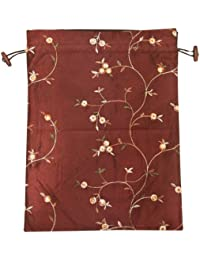 Beautiful Embroidered Silk Travel Bag for Lingerie and Shoes, Burgundy