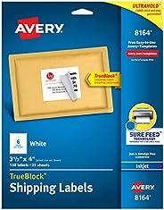 Avery Shipping Address Labels, Inkjet Printers, 150 Labels, 3-1/3x4 Labels, Permanent Adhesive, TrueBlock (816